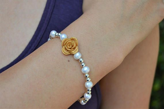 Gold Rose Pearl Bracelet, Mother's Day Jewelry, Pearl Sterling Silver Bracelet, Flower Wedding Bracelet, Gold Flower Bridal Bracelet, Gift