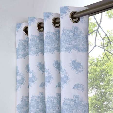 Blue Toile de Jouy Thermal Eyelet Curtains | Dunelm