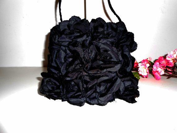 Zwarte avond tas Vintage zwarte tas van LittleBitsofGlamour op Etsy