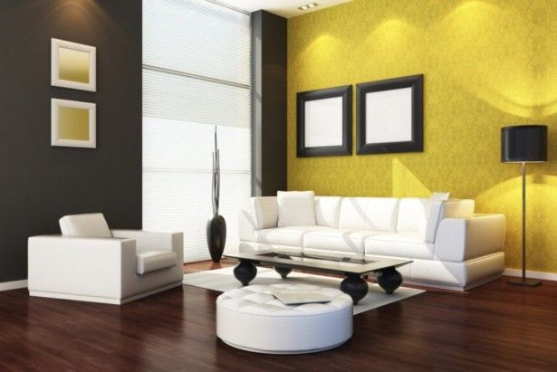 Living Room  Yellow Wall Pattern Decor Painting White Sofas Throw Pillows Rugs Table Top Glass Floor Lamps Furniture Ceramics Shade Light Filtering Window Wooden Tile Wonderful Color Ideas