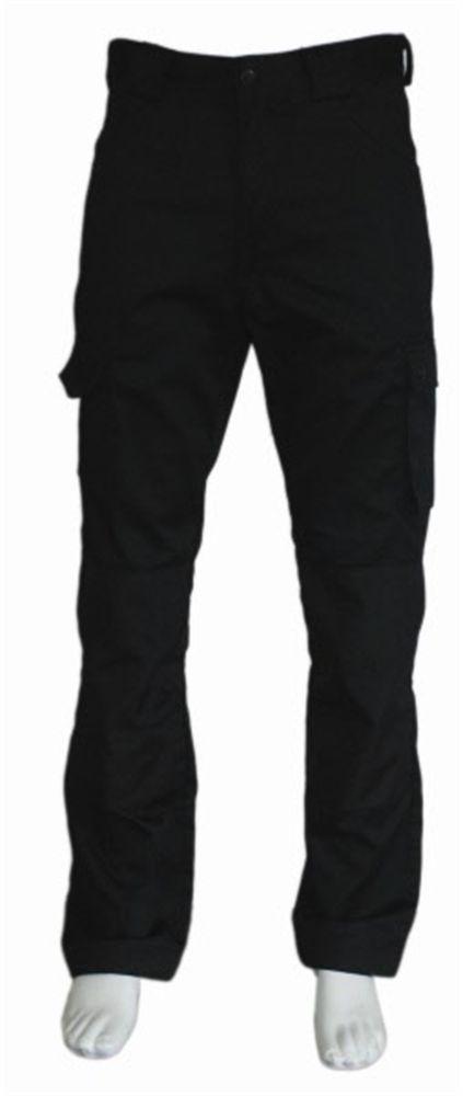 Werkbroek Zwart - 60% katoen / 40% polyester - 2 zijzakken - 2 achterzakken - Beenzak - Cordura kniezakken - duimstokzak en rolmaatzak - € 36,14 excl BTW