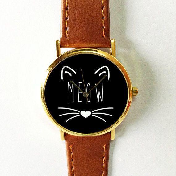 Meow Cat Watch Vintage Style Leather Watch Women por FreeForme