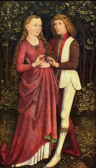 < 신랑신부 >, 작자미상, 1470. 한 손으로는 신부의 허리를 감싸고, 다른 손으로는 맞잡으려 한다.   눈빛 교환. 부부는 닮아간다는데 데칼코마니라 해도 되겠다. 손으로 하트가 그려지겠다.