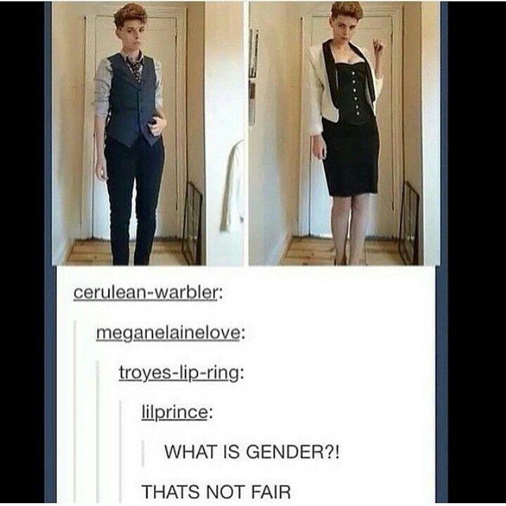 Tumblr LGBT Genderfluid(i hate/love when people SLAY in both genders,why do i look like a potato)
