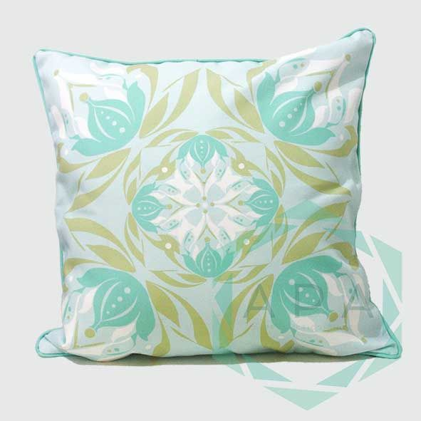 Inspired by the lotus flower, the design is characterised by a geometric print while a self-piped edge adds a neat finishing touch.  Lotus1blue cushion comes in 2 sizes:  45x45= Rp. 350,000 60x60= Rp. 450,000  For inquiries email us apaproductionhouse@gmail.com