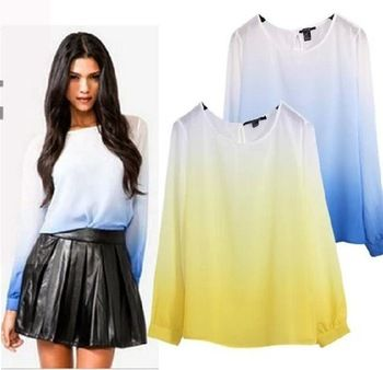 Free shipping new 2014 Spring fashion gradient color loose round neck long-sleeved chiffon shirt sleeve shirt female