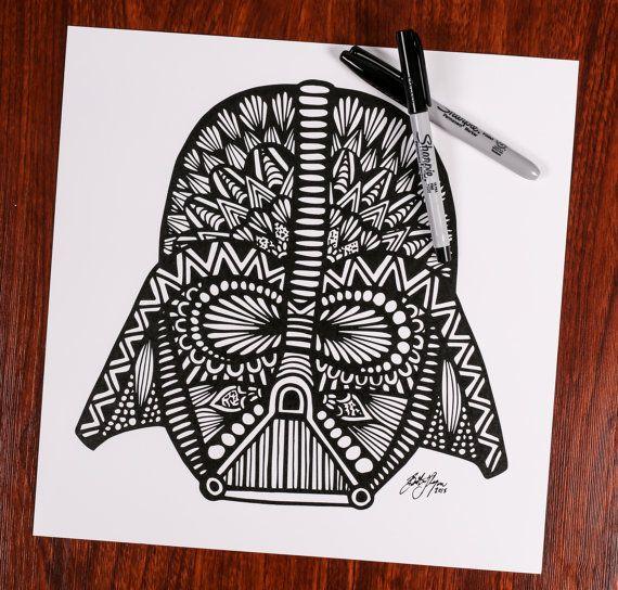Zentangle Darth Vader by DesignsByBlynn on Etsy