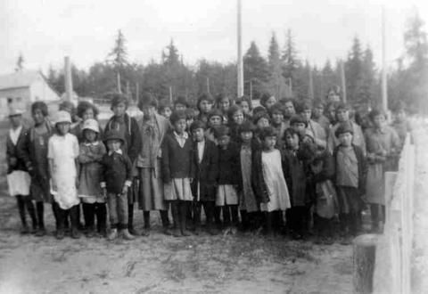 Some of the Indian girls at Lac La Ronge [Residential School] - SAIN Photographs