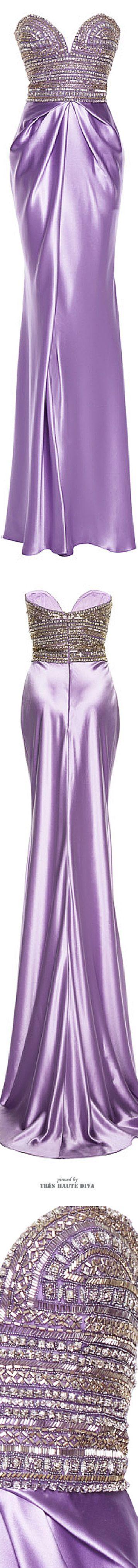 Naeem Khan Purple Satin Bustier Gown ♔ SS 2015