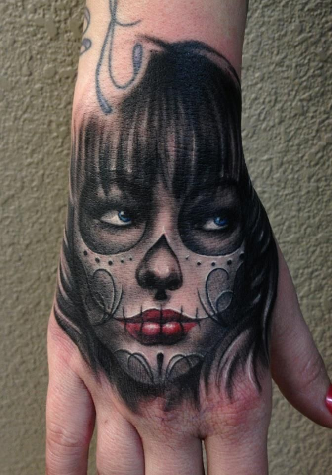 Day of the Dead hand  tattoo, Dia de Los Muertos by Carl Grace