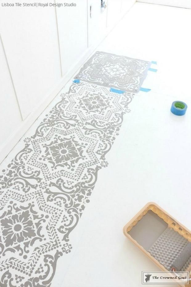 How To Prep And Paint A Concrete Floor With Diy Tile Stencils Royal Design Studio Painted In Bedroom Makeover By The Crowned Goat