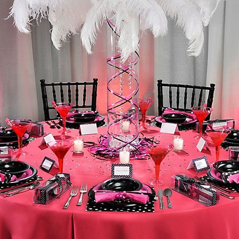 Bachelorette party table decorations bright pink plastic for Bachelor party decoration