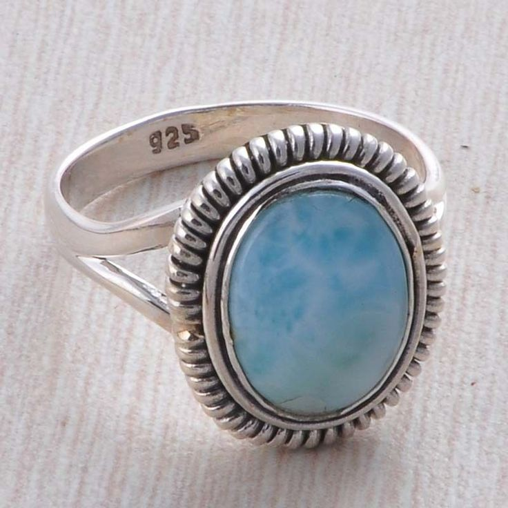 EXCLUSIVE 925 STERLING SILVER LARIMAR 5.37g FANCY RING JEWELLERY R023595 #Handmade #RING