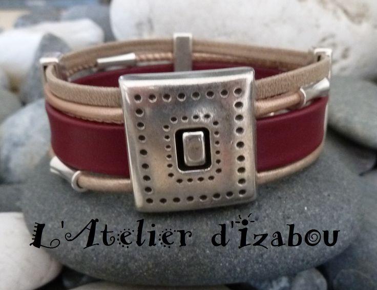 Bracelet fantaisie chic femme large multirangs cuir bordeaux, cuir rond rosé et beige satiné et cuir mat : Bijoux pour hommes par l-atelier-d-izabou