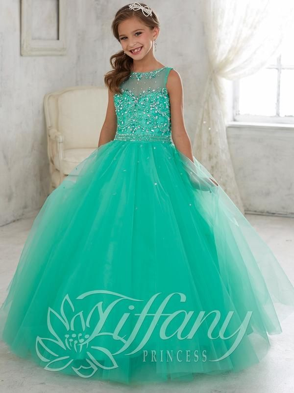 2016 New Mint Turquoise Girls Pageant Dresses Illusion Neck Crystal Beaded Long…