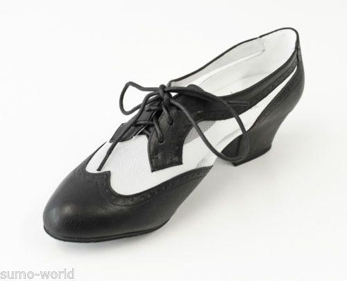 ARIS-Allen-da-Donna-Swing-Balboa-Lindy-Hop-Scarpe-da-Ballo-Nero-Bianco-Rete-Wingtip-NUOVO