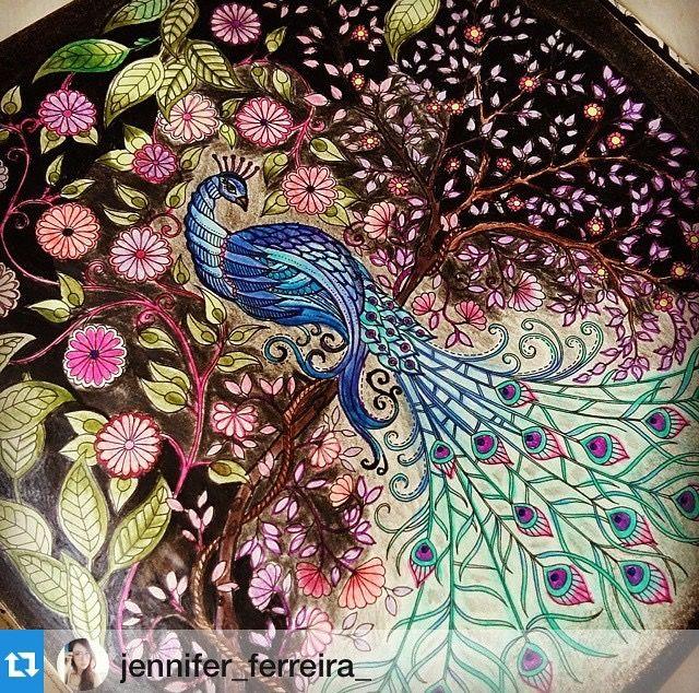 Adult Coloring Books Secret Gardens Peacock Crafts Art Colors Johanna Basford Garden Colouring Techniques Color