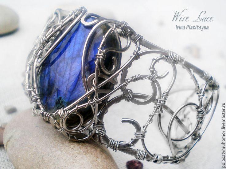 """Купить Браслет """"Байкал"""" - темно-синий, браслет купить, серебристый браслет, браслет лабрадор, лабрадорит"""