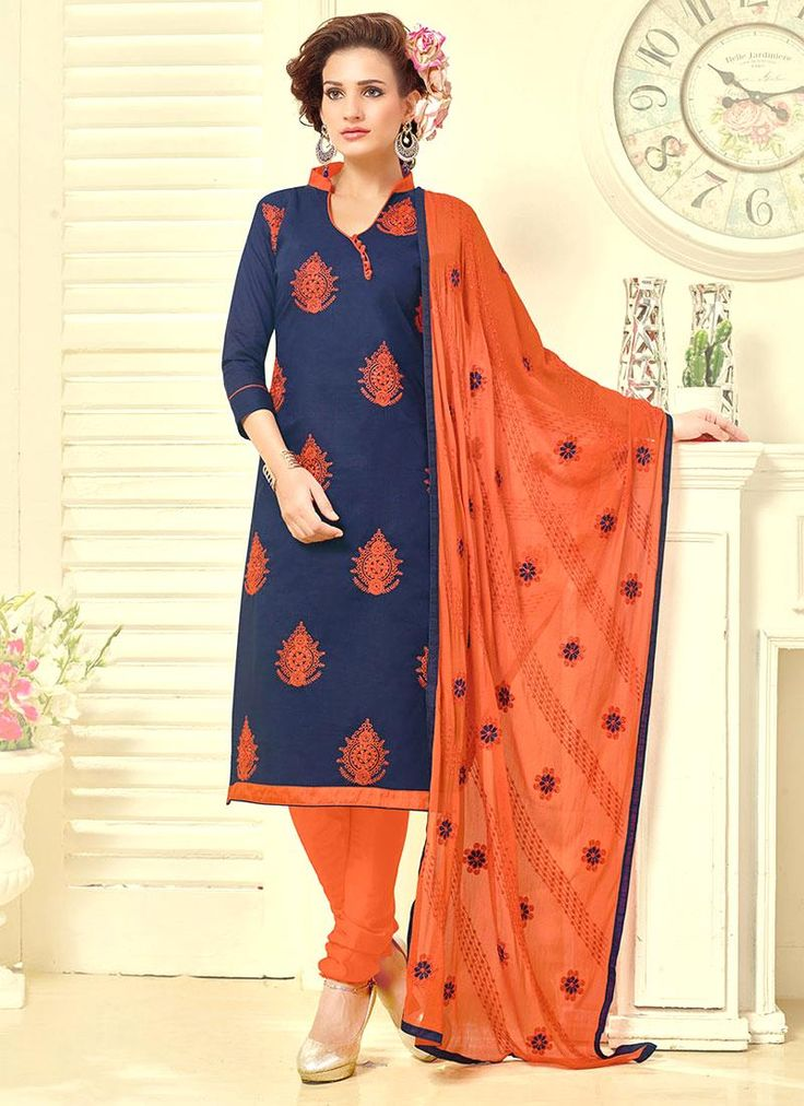 Flawless Embroidered Work Navy Blue Cotton   Churidar Suit