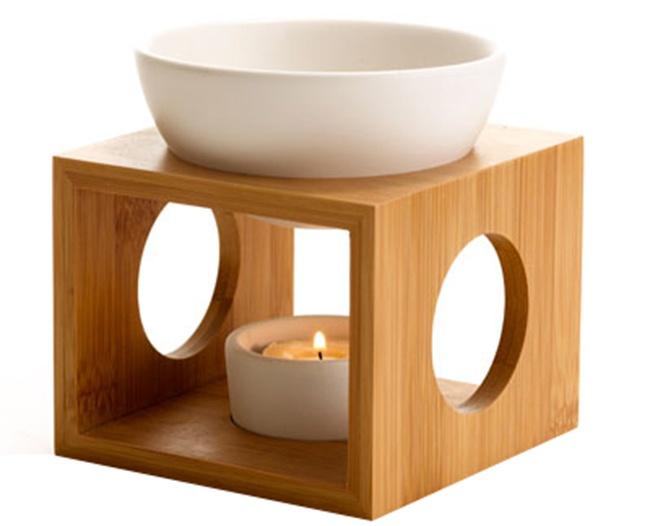 Love Home Bamboo Oil Burner, White