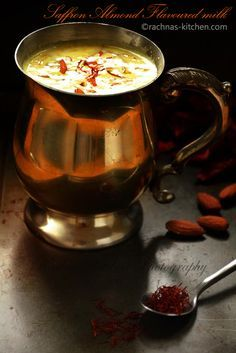 Kesar badam milk recipe, How to make kesar milk | Saffron almond flavoured milk - Rachna's Kitchen