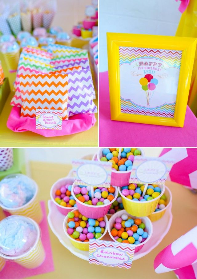 Rainbow First Birthday Party with Chevron and Balloons what's not to love about this adorable bright and beautiful party by the fab @andersruff