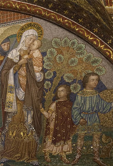 St Elizabeth of Hungary This mosaic of the saint being forced to leave Wartburg Casle with her children is in Wartburg Castle in Germany, where she'd lived and begun a hospital for the poor.