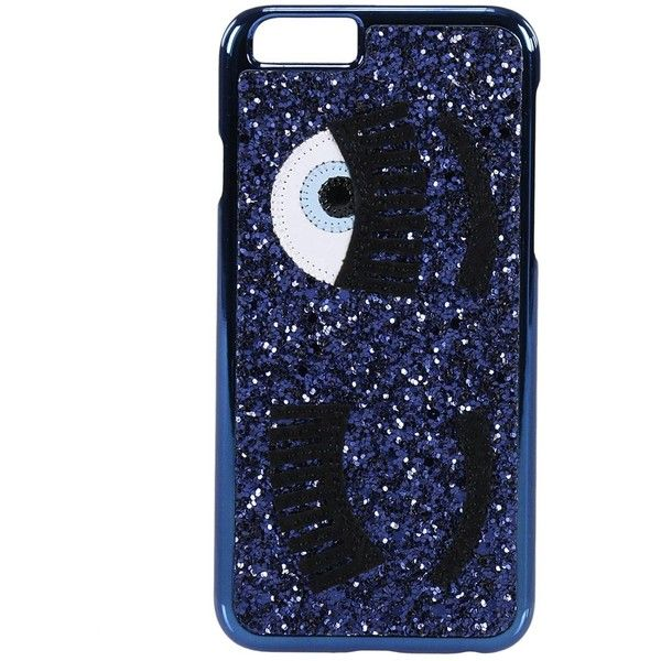Case Iphone 6 With Glitter Eyes (22 CHF) ❤ liked on Polyvore featuring bags, handbags, blue, womenbagsluggage, blue handbags, chiara ferragni, glitter purse, glitter bag and blue purse