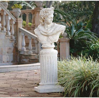 Apollo Belvedere Sculptural Bust On Roman Column Plinth