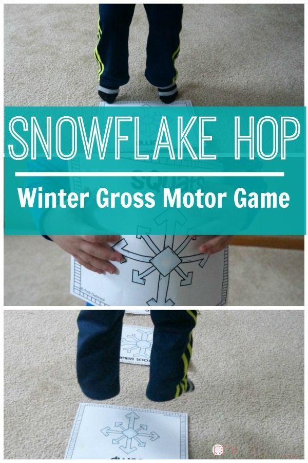 Snowflake hop winter gross motor game gross motor for Gross motor skills games