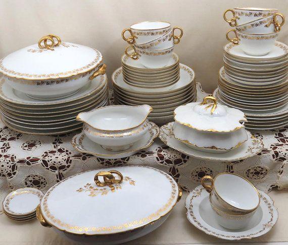 67 Piece GDA Haviland Limoges China Set Service for 8 plus 5 Serving Dishes & 154 best Fantastic china antiques images on Pinterest | Tea time ...