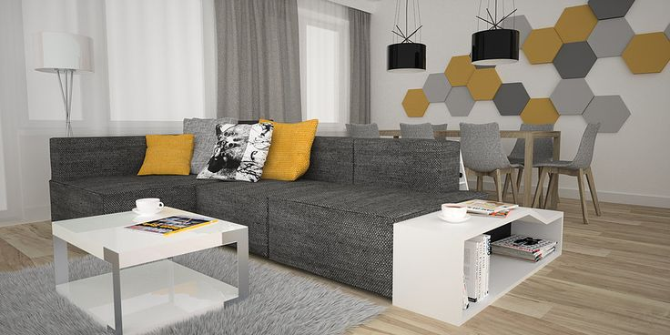http://www.oesarchitekci.com/  nowoczesny salon, projekt salonu, sofa w salonie, jadalnia w salonie, żółty salon, półka w salonie