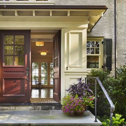 dramatic double front doors with fairly flat roof above - Double Front Doors
