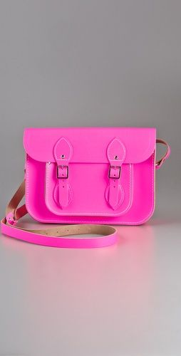 Cambridge Fluoro Satchel in neon pink $155.00