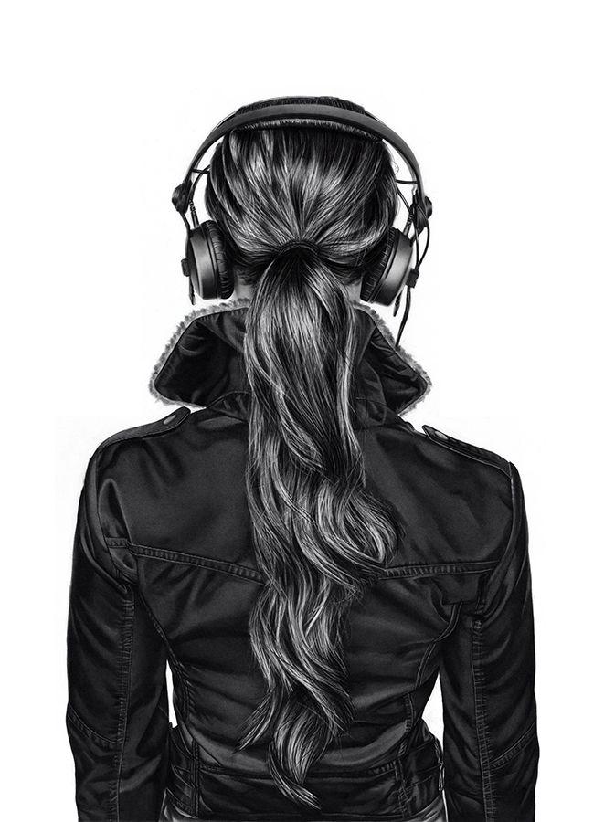 Girl With Headphones Drawing Tumblr Back Head Headphone bw