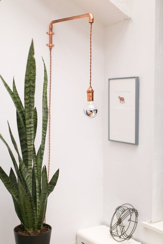 Idea for hanging light with copper pipe
