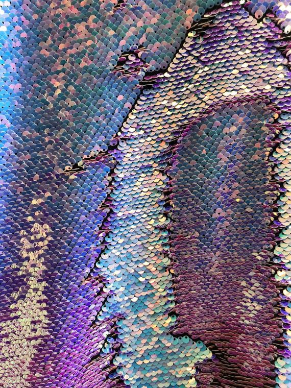New Iridescent Purple 5mm mermaid reversible sequin on spandex fabric   by yard