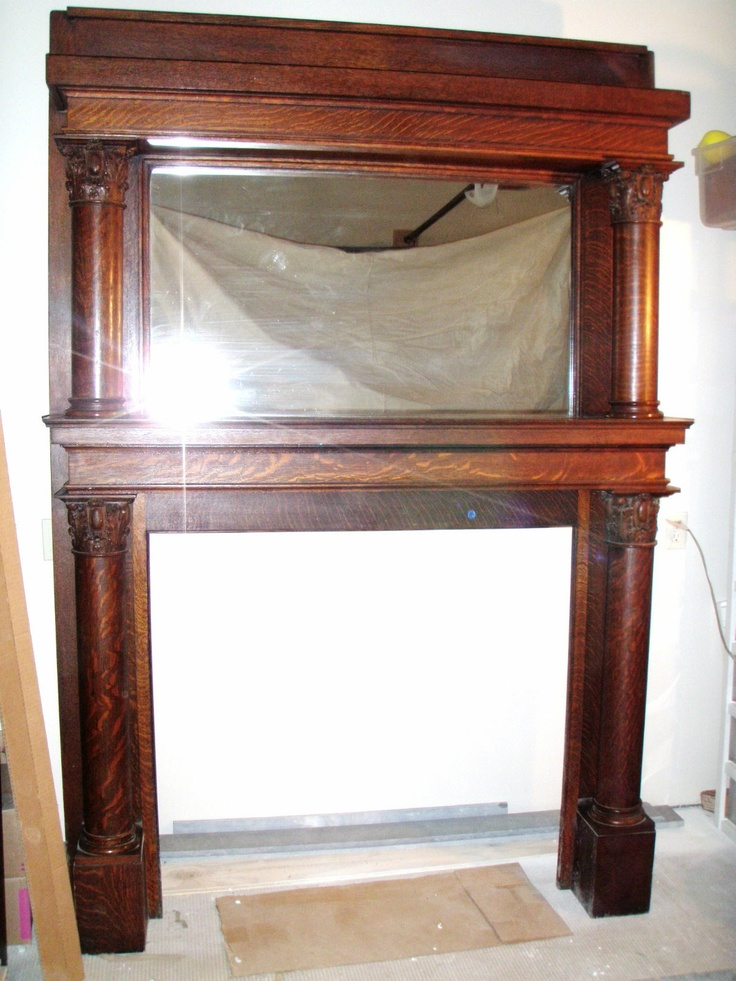 antique quartersawn oak fireplace mantle fireplace