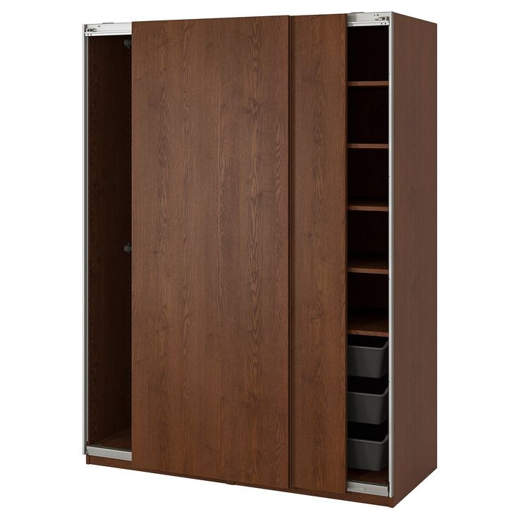 ikea pax wardrobe hasvik brown stained ash effect with the