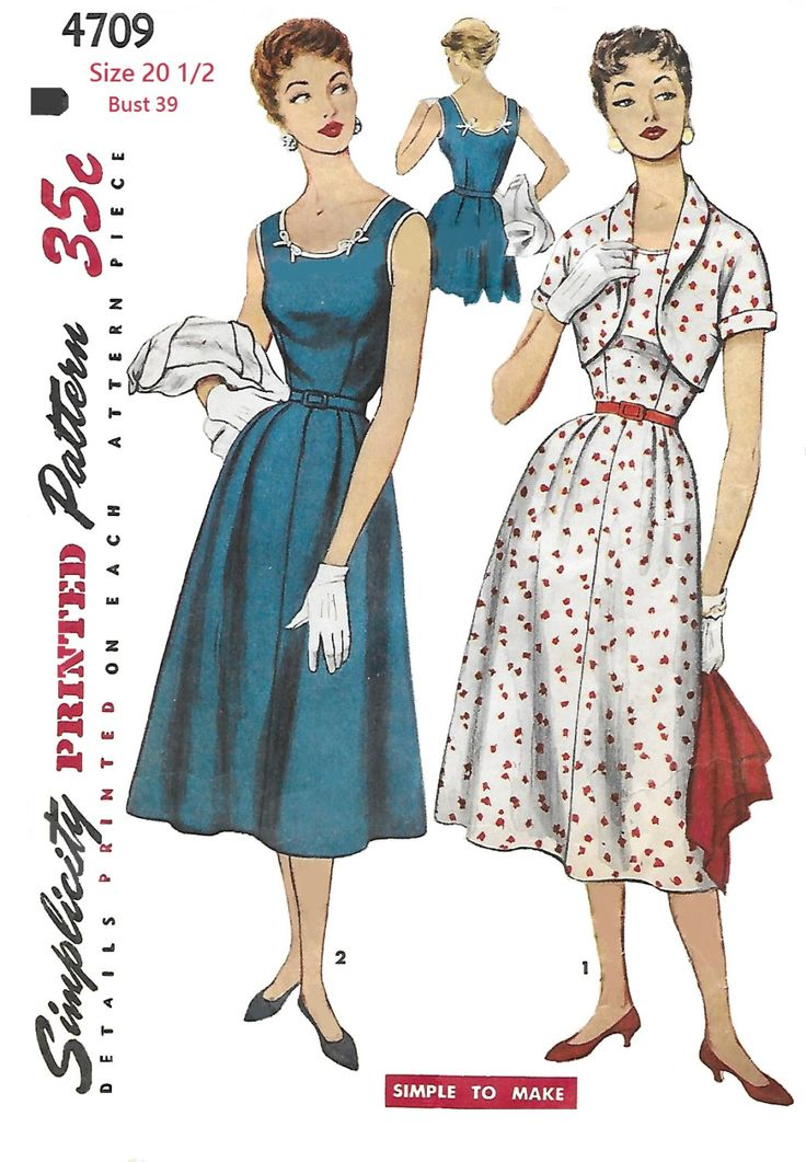 Simplicity 4709 Misses' 40s One-Piece Dress and Bolero in Half Sizes  Sewing…