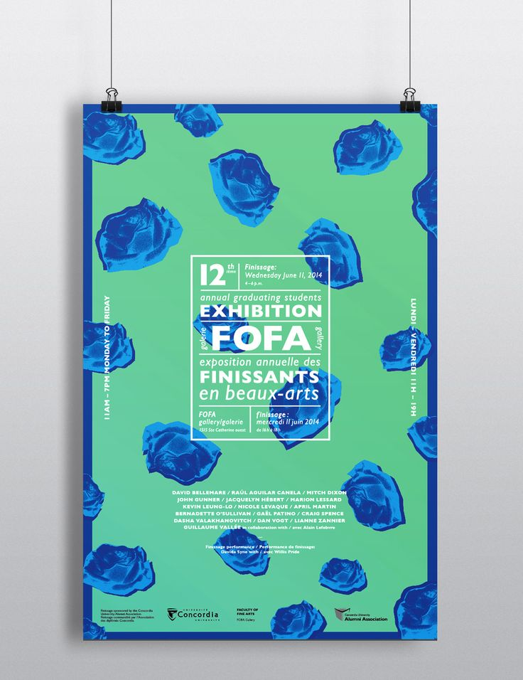 Graphic design and branding for the 12th Annual Graduating Students Exhibition held at the Fofa gallery of Concordia University. Promotional material consists of posters, pamphlets (finissage essay written by Jake Moore) as well as vinyl. The blue roses…