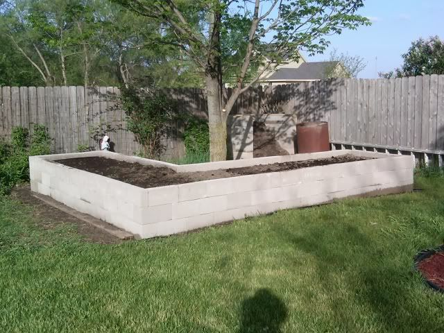 Raised bed made from concrete block.  Read comments on website for excellent ideas when using this type of construction.