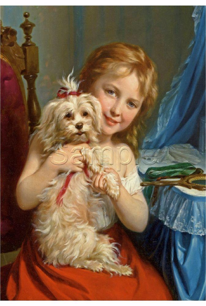BICHON FRISE dog child girl pet Antique vanity VINTAGE CANVAS art print LARGE #Vintage