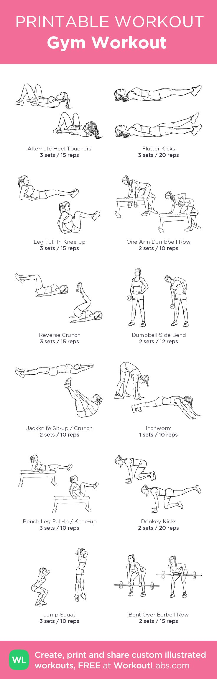 Gym Workout : my custom printable workout by @WorkoutLabs #workoutlabs #customworkout