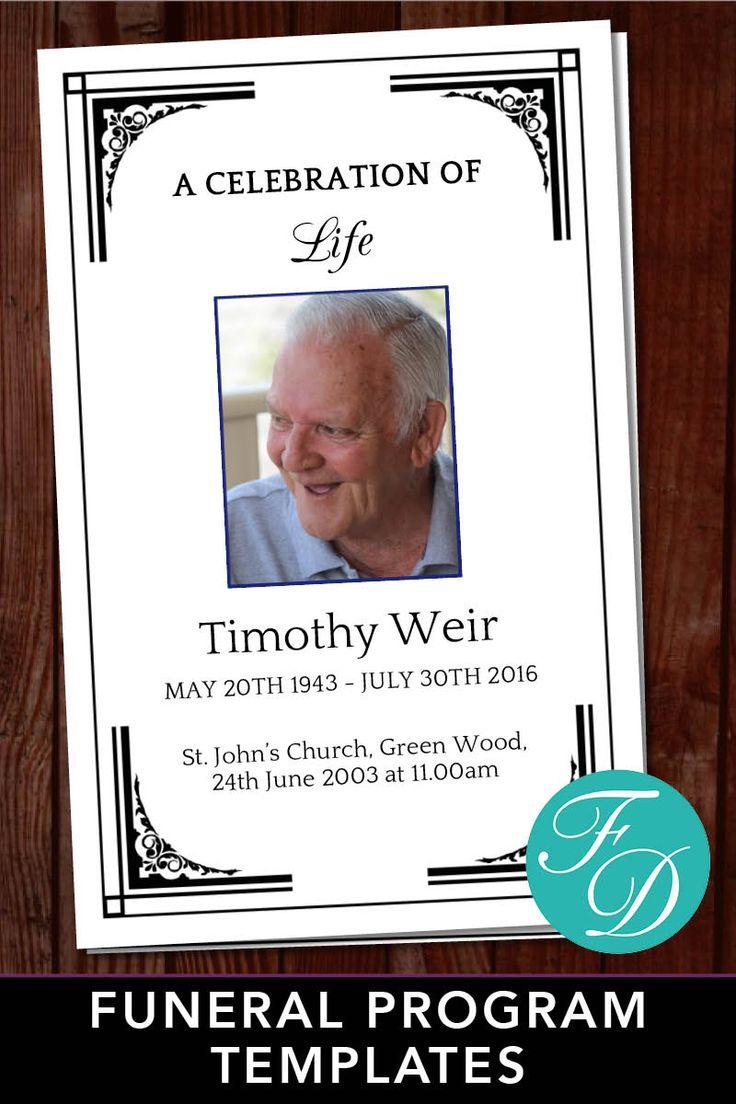 Funeral Program Template For Man Celebration Of Life Program Etsy Funeral Program Template Funeral Programs Funeral Program Template Free Free funeral programs template download