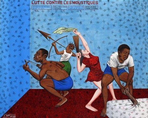 Chéri Samba. Lutte contre les moustiques, 2000 Acrylique sur toile, 80 x 100 cm