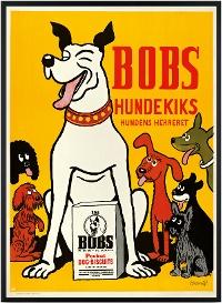 05-12-2012: Storm P. er mest kendt for sine tegneserier, sine 150 malerier, flere end 50.000 tegninger og en karriere som skuespiller. Men han var også en skøn plakatkunstner, og nu er Bobs Hundekiks flyttet fra plakatsøjlen på Rådhuspladsen og ind i de danske stuer.
