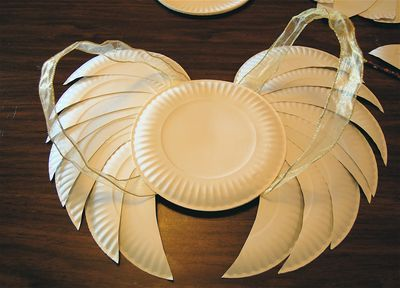 angel wings [paper plates + glue/stapes + scissors + pen/pencil]