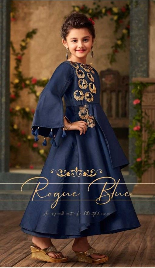 477f2f701e0 Royal Blue Color Satin Silk Party Wear Readymade Girls Gown | 57446657 # fashion #gowns #kids #girls #shopping #salwarkameez #heenastyle