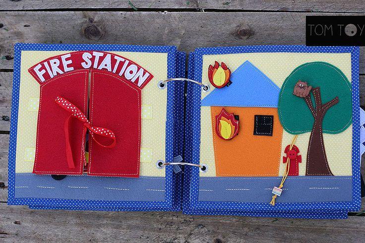 Transportation quiet busy book, fire station pages, Развивающая книжка транспорт